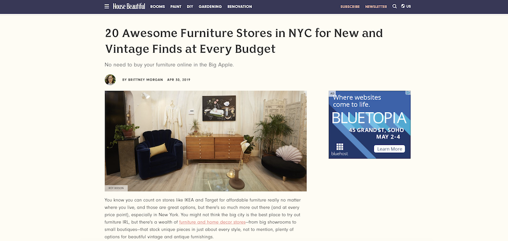 6cb7a74e63 House Beautiful put together a handy list of the 20 Best Furniture Stores  in NYC